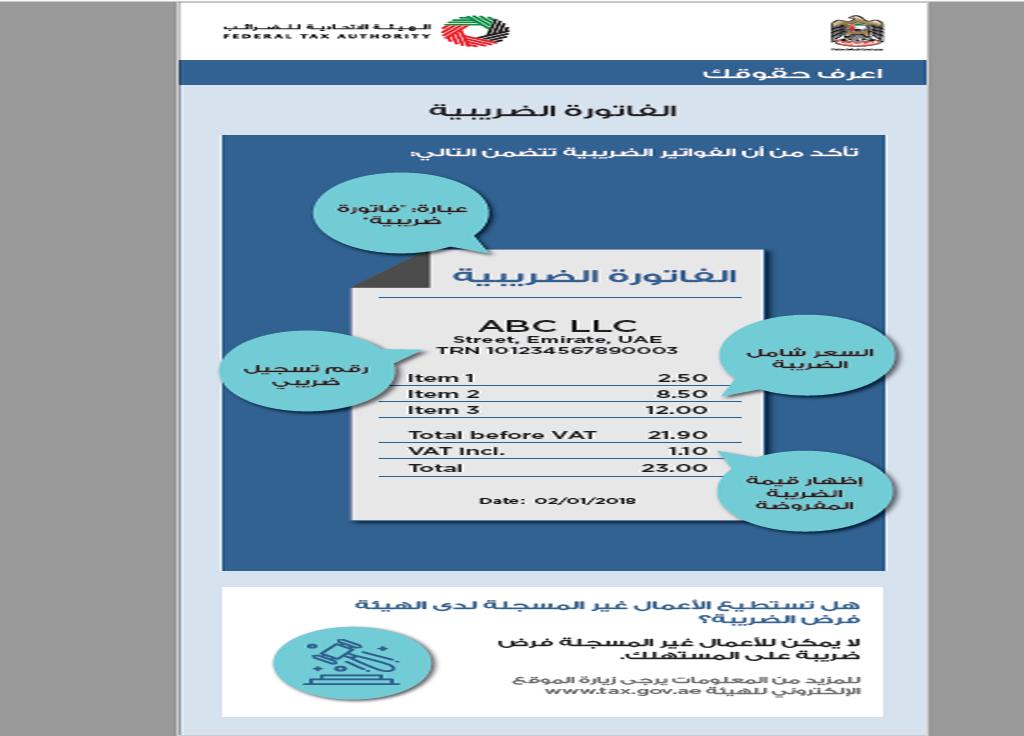 الضرائب الإماراتية تؤكد على ضرورة صحة فاتورة التوريد معلومات مباشر